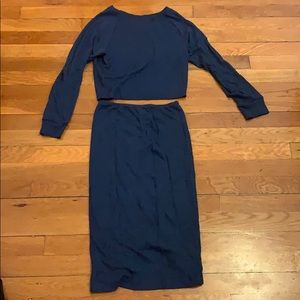 AA dark blue melange crop top pencil skirt set M